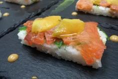 Shashimi de salmón de alaska de tapas victoria