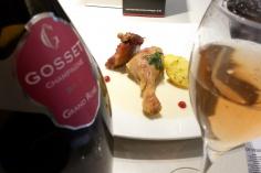 Confit de pato entre Champagne Gosset Grande Rose