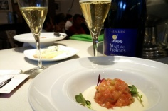 Tartar de tomate con vino Mar de Frade de Ramón Bilbao