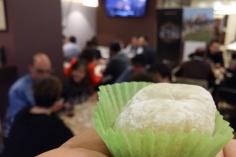 Mochis con helado de té verde macha
