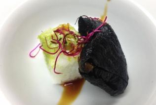 Alga negra y arroz de shusi con guacamole y salsa teriyaki